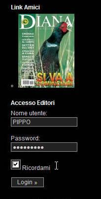 Area di accesso Login Editore..