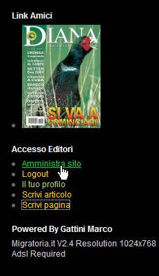 Link alle aree Editoriali..