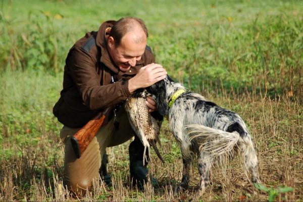 Cane con cacciatore....