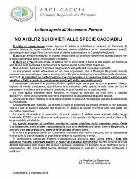Lettera Assessore Ferrero