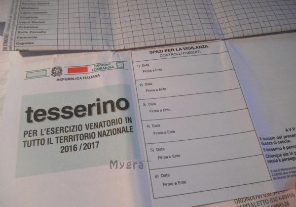 TESSERINO venatorio lombardia 2016-2017