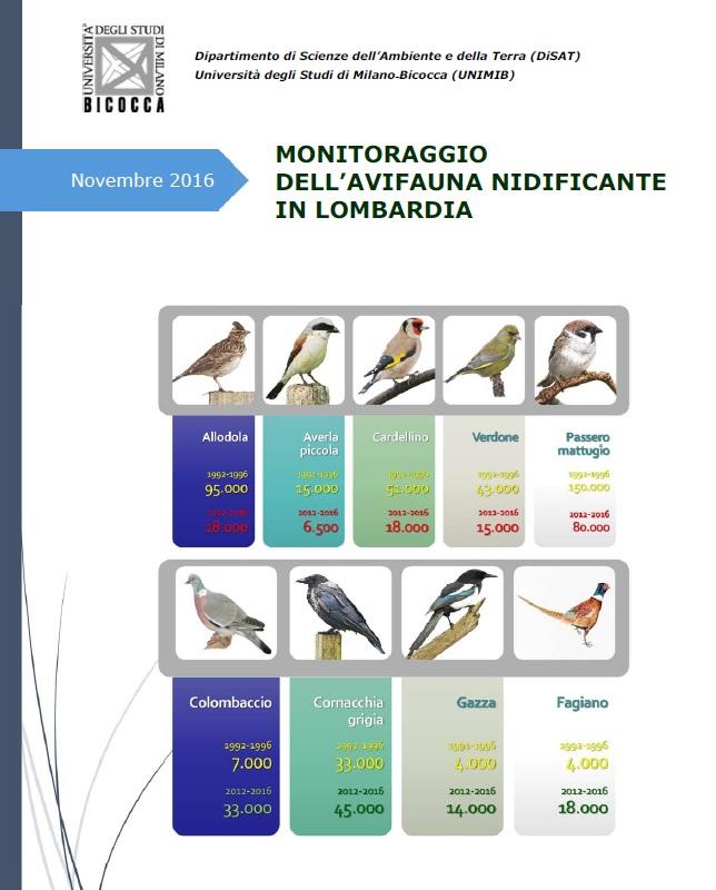 LOMBARDIA. PUBBLICATI I DATI RELATIVI AL MONITORAGGIO DELL'AVIFAUNA NIDIFICANTE  DAL 1992 AL 2016