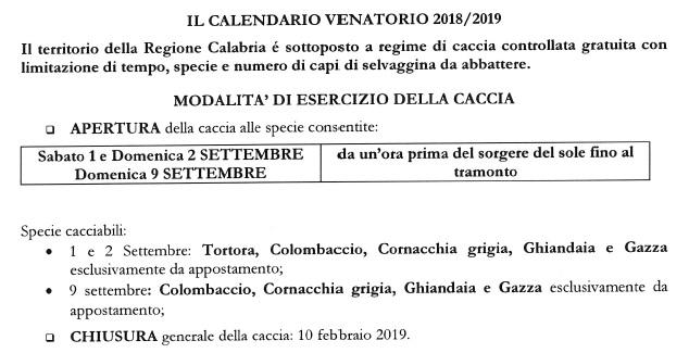 Regione Calabria Caccia E Pesca Calendario Venatorio.Calabria Calendario Venatorio Per La Stagione Di Caccia