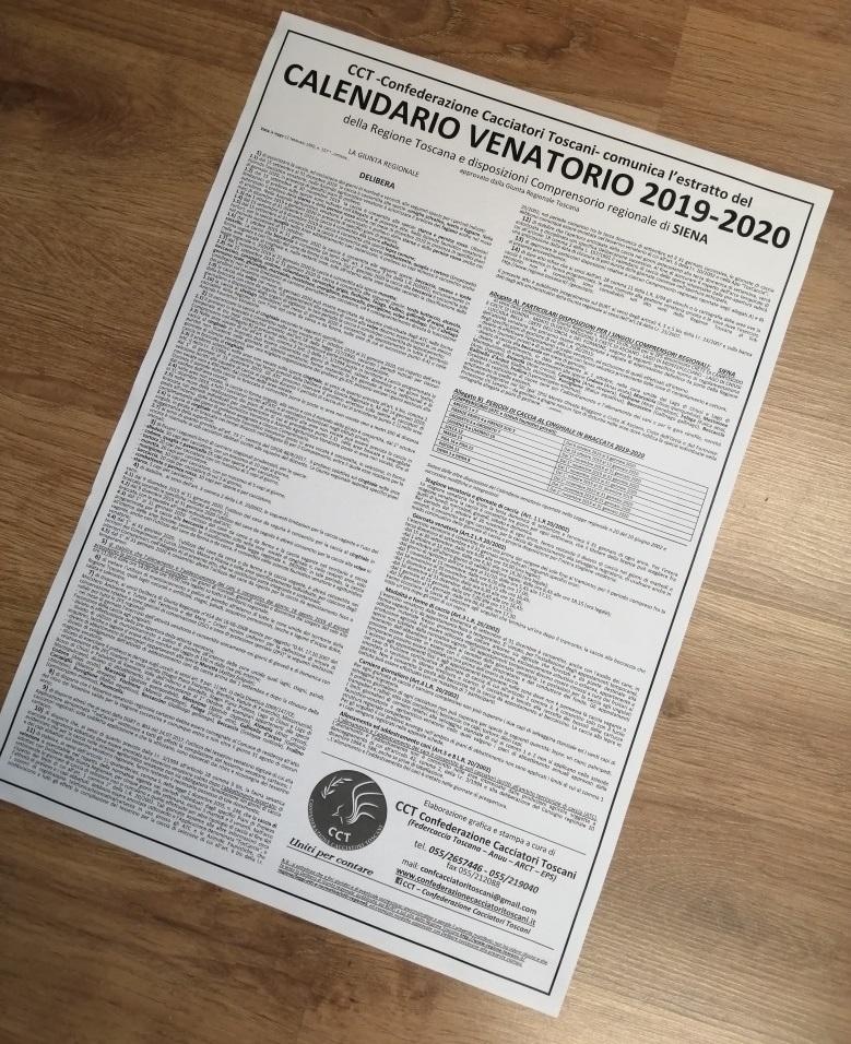 Calendario Venatorio 2020 Umbria.Cct Delibera Calendario Venatorio Regione Toscana 2019 2020