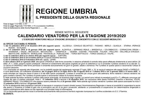 Calendario venatorio Umbria 2021